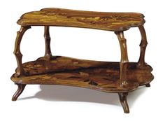 EMILE GALLE (1846-1904) | A FRUITWOOD MARQUETRY TWO-TIERED TABLE, CIRCA 1900