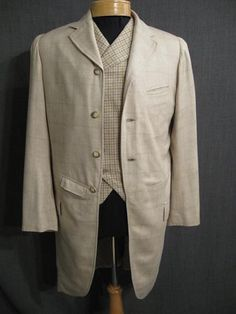 Suit Mens 1905 3pc beige windowpane wool
