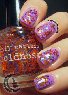 Nail Pattern Boldness's Bitches Brew over Sations Tardy Tart. Nail Patterns, My Nails, Tart, Nail Polish, Beauty, Pie, Tarts, Manicure, Cake