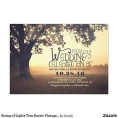 String of Lights Tree Rustic Vintage Wedding Invitation Addressing Wedding Invitations, Wedding Reception Invitations, Affordable Wedding Invitations, Wedding Invitation Samples, Beautiful Wedding Invitations, Vintage Wedding Invitations, Rustic Invitations, Invitation Wording, Shower Invitations