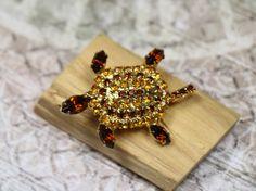 Vintage Amber Rhinestone Turtle Pin by CaityAshBadashery on Etsy