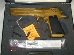 Desert Eagle .50 AE, .44 magnum, 6 inch barrel, titanium gold