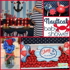 Fun ideas for a Nautical themed baby shower! It's a Boy. Today I'm sharing the Nautical Baby Shower I styled for my sister in law's baby shower. It's full of crabs and boats and anchors galore. Sailor Baby Showers, Tiffany Baby Showers, Mermaid Baby Showers, Baby Mermaid, Baby Shower Themes, Baby Boy Shower, Baby Shower Decorations, Shower Ideas, Diy Halloween Treats