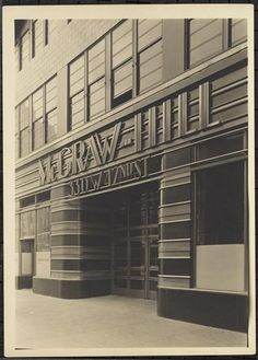 """decoarchitecture: """" McGraw Hill Building, NYC, NY Photo by Samuel H. Gottscho, 1931 Image via Museum of the City of New York Superb original entranceway to the landmark building at 330 West 42nd Street, by Raymond Hood. From Wikipedia: """"The McGraw..."""
