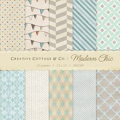 Modern Chic Chevron and Stripes Digital Papers for Blogging and Scrapbooking