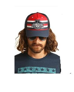 ded45489cd0 Rock   Roll Denim Dale Brisby Mesh Snapback Cap Red