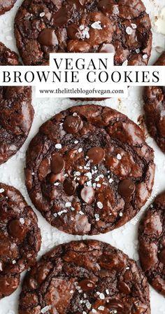 Vegan Baking Recipes, Vegan Dessert Recipes, Delicious Desserts, Best Vegan Brownies, Healthy Vegan Cookies, Brownie Cookies, Vegan Treats, Chocolate Recipes, Vegan Chocolate