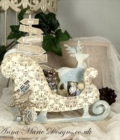 Wooden Sleigh - Fantastic wooden Kit for your Christmas Home Deco. This fantastic MDF Sleigh set enables you to create something different for your home using all types of paint, papers and embellishments. Christmas Makes, All Things Christmas, Christmas Home, Handmade Christmas, Christmas Crafts, Christmas Decorations, Christmas Ornaments, Christmas Sleighs, Christmas Ideas
