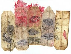 tea bags containing the secret of a dead tree (Ines Seidel) Tags: red brown rot collage altered embroidery plastic yarn textile packaging stitching braun recycling teabag reuse teebeutel vision:outdoor=0937