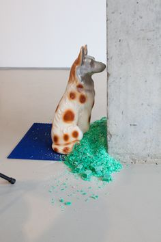 """Kemang Wa Lehulere, Installation view of """"Sleep is for the Gifted,"""" 2013 Lombard Freid Gallery South African Artists, Contemporary Sculpture, Installation Art, Giraffe, Sleep, Gallery, Animals, Felt Giraffe, Animales"""
