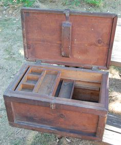 Vintage Wooden Handled Tool Storage Chest