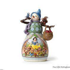 Disney Traditions Snowman with Snow White Scene Figurine 'Hi Ho Holidays' - Jim Shore 4046020 #SnowmanWithSnowWhiteSceneFigurine #DisneyTraditionsJimShore #FineGiftsNottingham