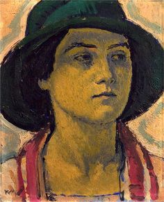 Young woman with hat, 1913 by Koloman Moser (Austrian, 868 – 1918)