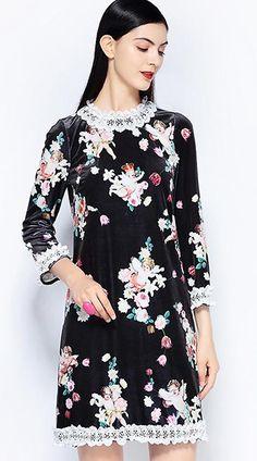a4c5d5ca5e Velour Print O-Neck 3/4 Sleeve Fit & Flare Dress