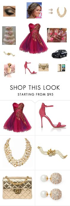 """Boda 2"" by fraynethlegon ❤ liked on Polyvore featuring beauty, Cake Boss, Sergio Rossi, Chanel, Miriam Haskell and Kenneth Jay Lane"