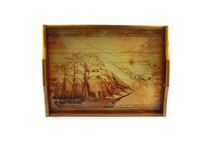 A small ,wooden, decoupaged tray with a ship,brown and yellow serving tray