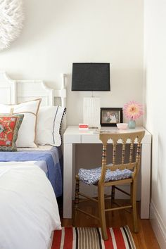 Desks do double Duty as Nightstands- With space at a minimum, corners have to be cut — four of them to be exact. Instead of trying to fit a nightstand and desk together in one room, take one table completely out of the equation and set up a small sized desk bedside instead. #apartmenttherapy.com