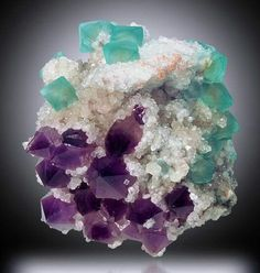 Green Fluorite with Amethyst on Calcite from China.