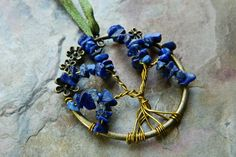 Wire Wrapped Tree of Life Ornament with Lapis by JoyBelleJewelry, $16.00