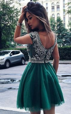 Chic Turquoise / Hunter Homecoming Prom Dress - Short Scoop Cap Sleeves with Beading