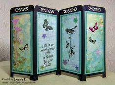 """By Lynne K. """"Screen Card."""" Cut patterned paper for backgrounds and solid-color mats to go behind them. Add stamped images  die-cuts. Fold, cut,  punch card base. Attach finished panels. So pretty!"""