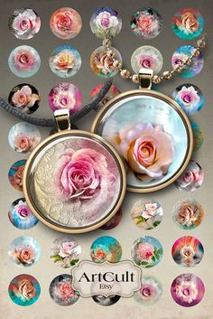 BOUQUET OF ROSES - Digital Collage Sheet 1inch circle images Printable Download for glass or resin pendants and magnets