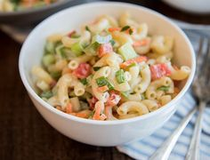This creamy macaroni salad is loaded full of fresh crunchy vegetables. Its the perfect summer side dish for a picnic or potluck! I love macaroni salad. Its one of my favorite side dishes to eat, and Creamy Macaroni Salad, Avocado Toast, Bbq Appetizers, Ricardo Recipe, Bbq Chicken Salad, Summer Side Dishes, Cooking Recipes, Healthy Recipes, Side Recipes