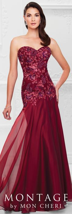 Formal Evening Gowns by Mon Cheri - Spring 2017 - Style No. 117902 - wine strapless chiffon and lace evening dress
