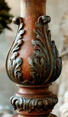 victorian gothic floral flower carved finial gold leaf