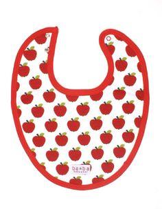 Wit slabbetje met rode appeltjesprint en rode rand - Baba Babywear