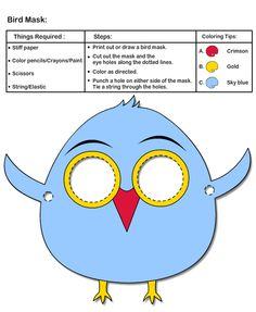 How to make Bird Mask Printable Animal Masks, Kids Crafts, Arts And Crafts, Crayon Painting, Bird Coloring Pages, Bird Masks, Puppet Crafts, Kids Zone, Busy Bags