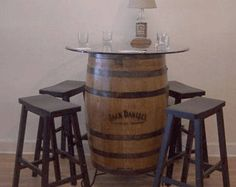 2017 Holiday Mancave Special Whiskey Barrel Table-FREE SHIPPING