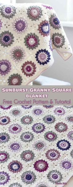 Sunburst Granny Square Blanket Free Crochet Pattern #freecrochetpatterns #summerblanket #crochetblanket