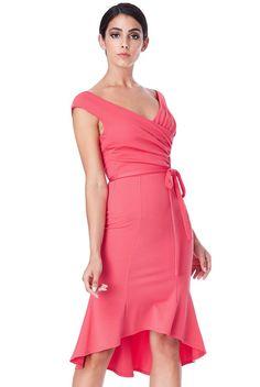 Olivia pleated κοραλί φόρεμα με ζώνη One Shoulder, Shoulder Dress, How To Wear, Dresses, Fashion, Vestidos, Moda, Fashion Styles, Dress