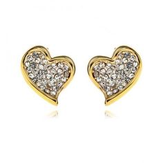 Clear Crystal Lovely Heart Shape Gold Plated Stub Earrings from vogueplaza.com