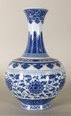 Chinese Blue and White Porcelain lotus Vase, Marked on Base. 14 x 9 Porcelain Ceramics, White Ceramics, Delft, Korean Pottery, Blue And White Vase, Blue Vases, Lotus, Blue Pottery, Blue China