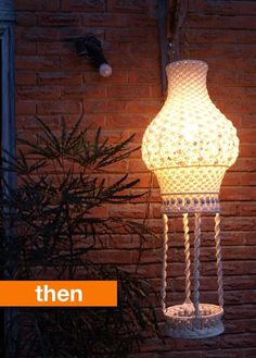 Then & Now: DIY Macrame Lamps The Now lamp isn't showing but it does look really effective