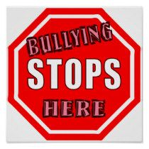 Bullying Stops Here - Bullying prevention posters - #antibullying #bullyingprevention AwarenessRibbonGifts.com