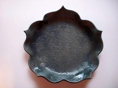 Stormy Blue Fine Brocade Lotus Platter by CatsPawPottery on Etsy, $32.00