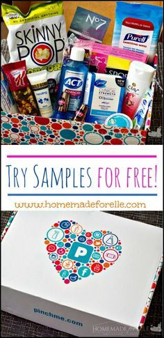 Free Monthly Sample Boxes with PinchMe ⋆ Homemade for Elle Free Stuff By Mail, Get Free Stuff, Free Sample Boxes, Free Boxes, Freebies By Mail, Get Free Samples, Free Beauty Samples, Free Makeup Samples, Ideas