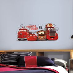 Roommates Cars 2 Friends to the Finish Peel and Stick Giant Wall Decals