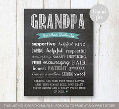 The Best Grandpa gift Chalkboard sign - personalized grandad gifts - Number One Grandfather - Birthday gift for grandparents - DIGITAL file! Grandpa Birthday Gifts, Bday Gifts For Him, 30th Birthday Gifts, Grandpa Gifts, Birthday Crafts, Personalised Grandad Gifts, Personalized Signs, 50th Birthday Quotes, Grandma Quotes