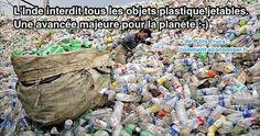 déchets jetables plastiques bouteilles interdits pollution inde