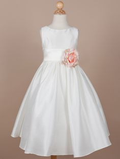 Gorgeous Poly-Shantung Flower Girl Dress with Organza Sash - New Arrivals