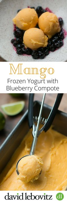 Ripe, juicy mangoes make a lovely Mango Frozen Yogurt, served with a fruity blueberry compote - the perfect accompaniment!