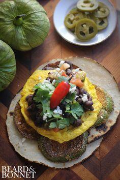 Huevos Rancheros with Fried Green Tomatillos (Gluten-Free) [Beard & Bonnet]
