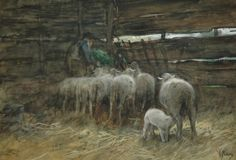 Anthonij 'Anton' Mauve (Zaandam 1838-1888 Arnhem) De schaapskooi - Kunsthandel Simonis en Buunk, Ede (Nederland).