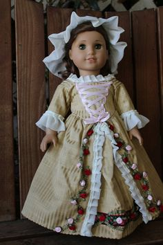 Colonial tea dress and cap for 18in American girl doll ( felicity)