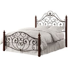 Tribecca Home Madera Graceful Scroll Bronze Iron Metal Full-sized Bed... ($422) ❤ liked on Polyvore featuring home, furniture, beds, full bed headboard, full bed, metal head boards, iron metal bed and iron headboards