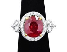 RUBY MOZAMBIQUE NATURAL OVAL 8.54CT ON 18K DIAMOND RING ALL CERT.